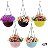 Go Hooked Multicolor Round Rattan Woven Plastic Flower Hanging Planter/Beautiful Round Gamla Pot/Flower Hanging Pot for…