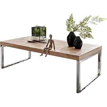 Wohnling Table basse en bois massif d Acacia 120 cm de largeur Table de  salon design marron foncé style maison de campagne Table d appoint naturel  Produit ... 22d43ae050a2