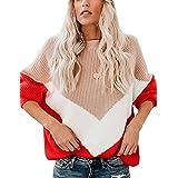 Maglione Invernale Donna Oversize Pullover Cuciture Multicolor Maglia Girocollo Manica Lunga Moda Maglione Natalizio Sweatshi