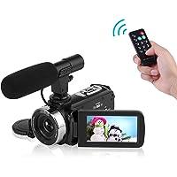 Caméscope Caméra vidéo Full HD 1080P WiFi Caméra de Vision Nocturne avec Microphone Externe Caméra vidéo Vlogging pour Youtube