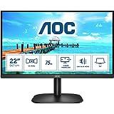 "AOC 22"" IPS Full HD Monitor, 75Hz Refresh rate Modern and sleek 3 side Frameless edge and Flicker Free technology, (VGA, HDMI"