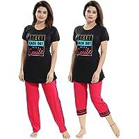 TUCUTE Women / Girls Cotton Hosiery 3 pcs Top, Capri & Shorts Nightwear / Nighty/ Loungewear/ Nightsuit (Top,Capri…