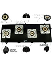 Hamlay Toughened Glass Burner Auto Ignition Gas Stove (4 Burner LPG Compatible Black)