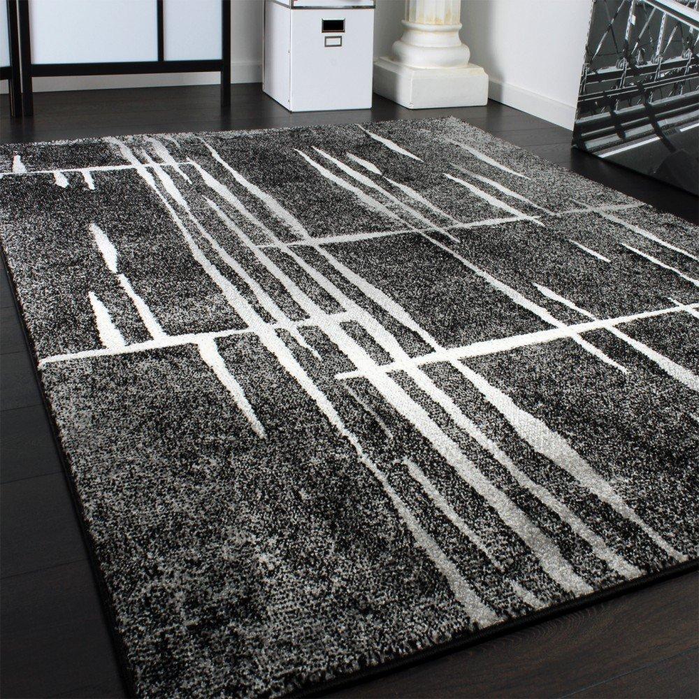 Teppich wohnzimmer modern  Designer Teppich Modern Trendiger Kurzflor Teppich in Grau Schwarz ...