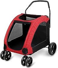 Amzdeal Hundewagen Hundebuggy, Buggy und Wagen für Hunde Katze, Pet Stroller aus Stahl + 600D Oxford-Gewebe, für Gewichte von Haustier 15 - 45 kg (rot)