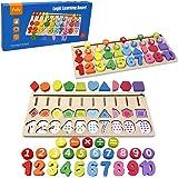 Felly Juguetes Educativos 1 2 3 años Niños, Juegos de Madera Montessori Tablero de Conteo de Números de Apilamiento de Clasif