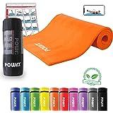 POWRX Gymnastikmatte Premium inkl. Trageband + Tasche + Workout GRATIS I Hautfreundliche Fitnessmatte Yogamatte Phthalatfrei 190 x 60-100 x 1.5 cm I versch. Farben