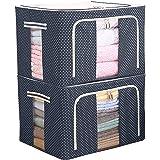 Eastjing - Lot de 2 sacs de rangement pliables et rigides - Pour couettes, coussins, vêtements - Tissu Oxford - Avec cadre en