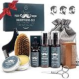 Kit Soins Barbe Homm, OUKZON Coffret Cadeau Pousse Barbe Complet Professionnel avec Shampoing barbe, Conditionneur, Huile Bar