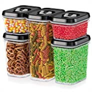 DWËLLZA KITCHEN Airtight Food Storage Containers - 5 Piece Set - Air Tight Lid - Kitchen & Pantry Containers - Clear Thick Pl