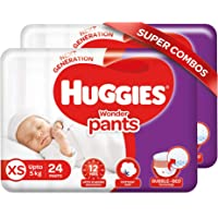Huggies Wonder Pants Extra Small / New Born (XS / NB) Size Diaper Pants Combo Pack of 2, 24 count, with Bubble Bed…