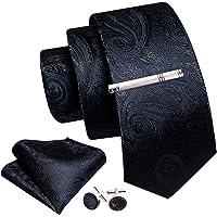 Barry.Wang Cravatta da uomo in seta con fazzoletto e gemello, set di cravatte, set di 3 pezzi