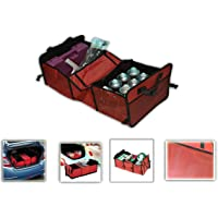 NIKAVI Boot Organiser -Multipurpose Car SUV Trunk Organizer Car Storage Box - Best Heavy Duty Construction - Great for Car,SUV,Truck,Jeep,Minivan,Home - Durable Collapsible Cargo Storage (RED)