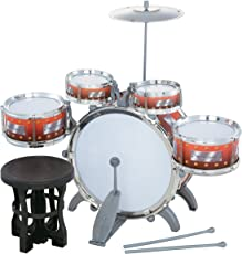 Liberty Imports Jazz Drum Set With Chair - Music Toy Instrument For Kids - 10 Pc Multi Color