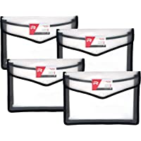 TULMAN 4 Pack A4 Size Document Organizer Transparent Project Envelope Folder with Snap Button Closure