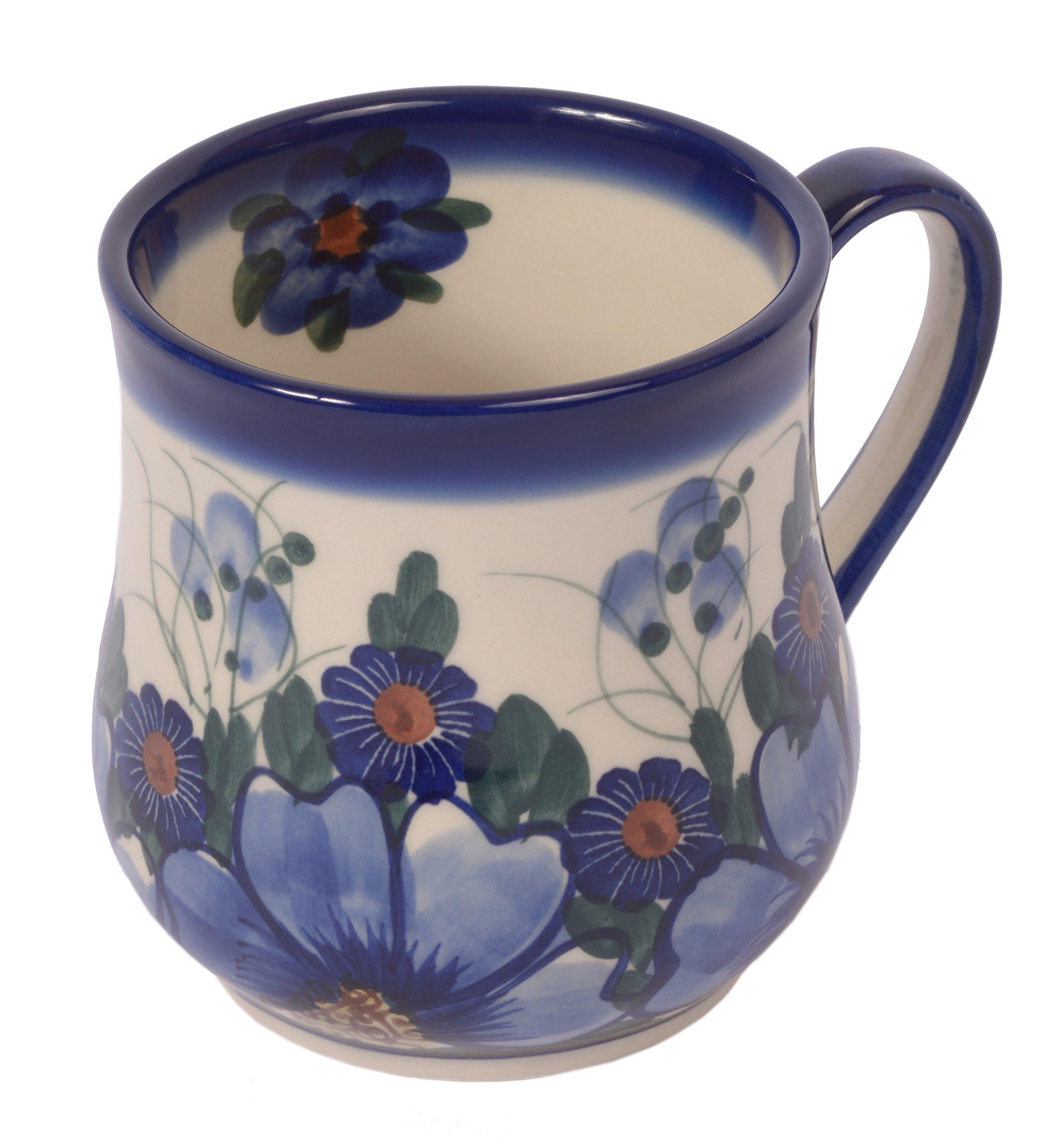 Traditional Polish Pottery, Handcrafted Ceramic Drop-shaped Mug (350 ml /12.3 fl oz), Boleslawiec Style Pattern, Q.102.PASSION