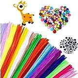 MOREFUN 500pcs Fil Chenille Pompon Kit - Art de Loisirs Créatifs pour Les Enfant Filles DIY Jouets éducatifs [100 Cure Pipes,