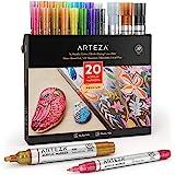 Arteza Acrylstiften metallic, set van 20 verschillende acrylmarkers met verwisselbare punten, metallic stiften voor stenen, c