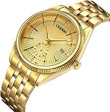 Luxuriöse Herren-Quarz-Armbanduhr, Sportuhr, wasserdicht, Vollstahl, Gold Uhren