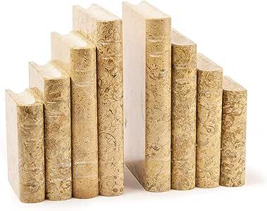 Fermalibri in marmo dellHimalaya Beige Fossilstone Book Bookends