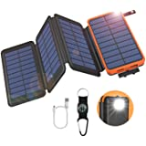 GOODaaa Solar Powerbank 25000mAh, Solar Power Bank Outdoor mit 3 Ausgängen, Solar Ladegerät mit Taschenlampen-Kompass für Han