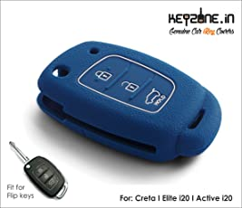 KEYZONE Silicone Flip Key Cover Remote Fit for Elite I20/I20 Active/Creta (Blue, SLHY223)