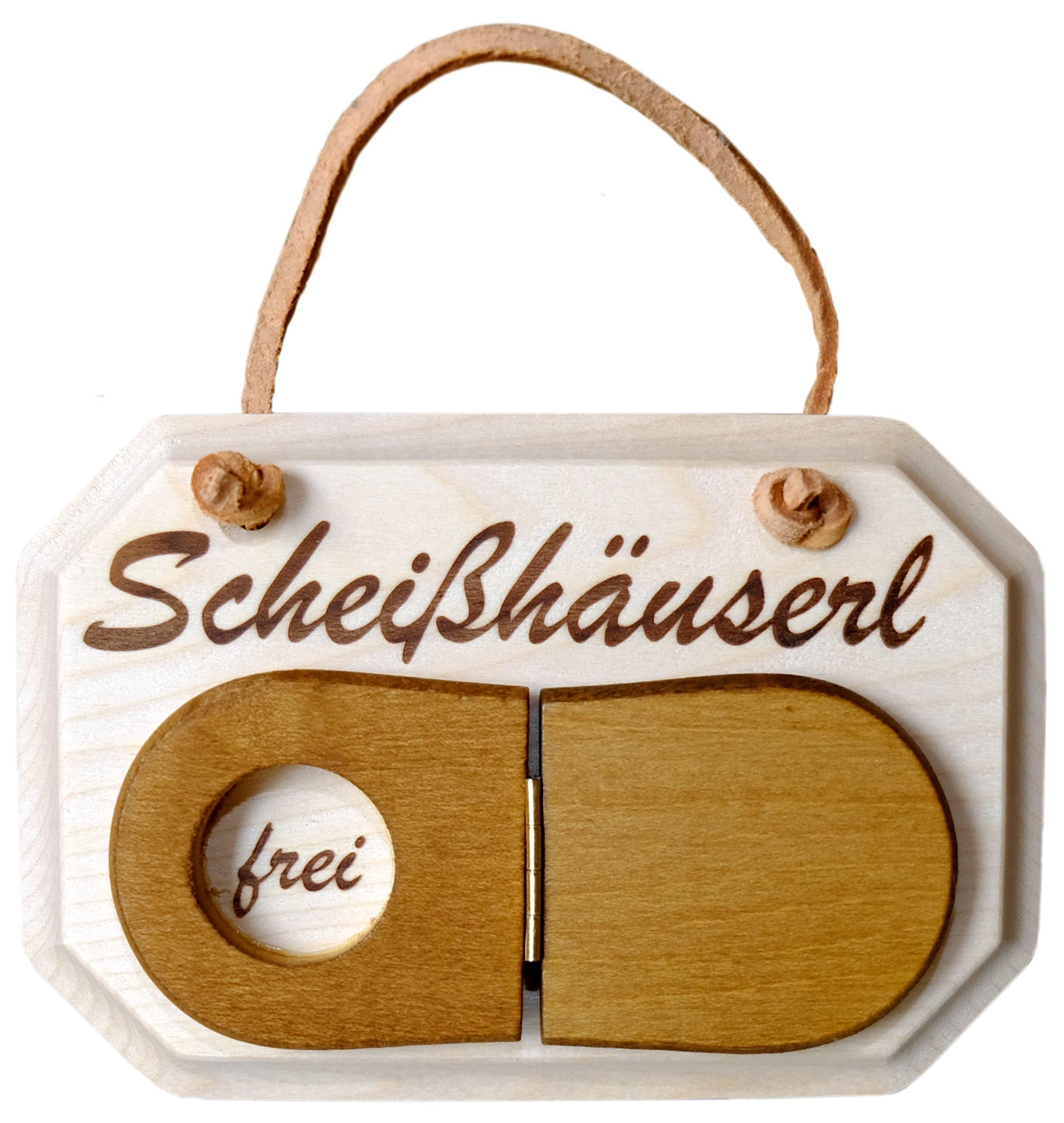 Kaltner Präsente Holz Schild Türschild aus massivem Ahorn für das WC Toilette Schriftzug Scheißhäuserl mit Klodeckel zum…