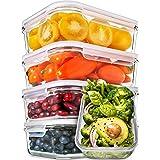 Boîtes Alimentaires Verre [5 pièce 850 ml] Boite en Verre - Hermetique Boite Conservation Verre avec Couvercles - Boite Conse