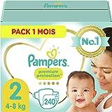Pampers Couches Premium Protection Taille 2 (4-8kg) notre N°1 pour la protection des peaux sensibles, 240 Couches (Pack 1 Moi