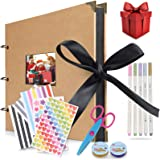 """Scrapbook, 80 Pages Photo Album Memory Books 12"""" L x 8"""" W A4 Craft Paper DIY Scrapbooking Photo Albums with 5 Metalic Marker"""