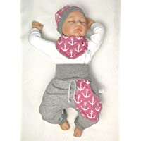 Halstuch 50-104 Rehkitz Grau Rosa Handmade Baby Set Pumphose Beanie