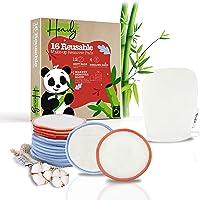 Dischetti Struccanti Lavabili e Riutilizzabili Effetto Peeling con Guanto Struccante Viso e Occhi in Bambù e Cotone per…
