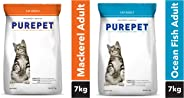 Purepet Adult Cat Food Combo of Mackerel, 7 kg & Ocean Fish, 7kg