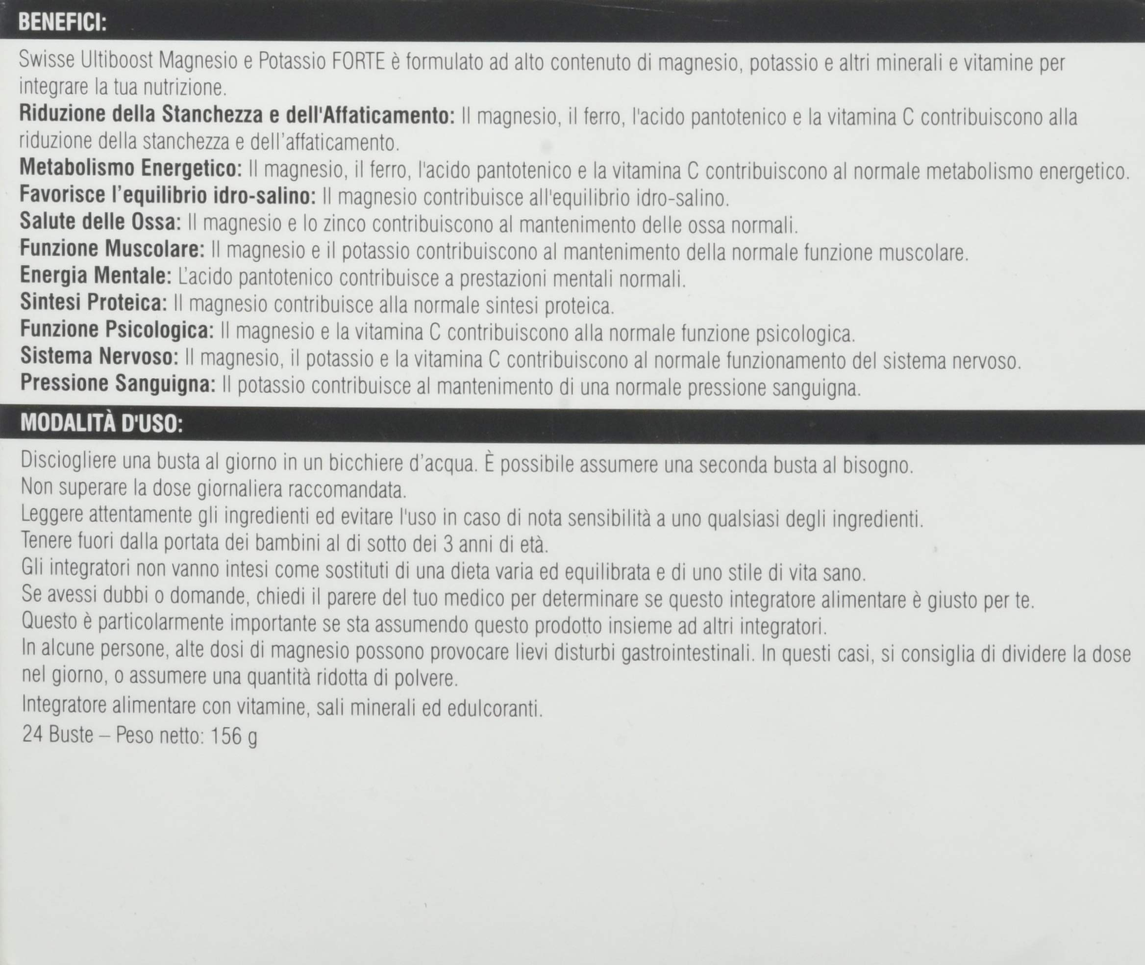 Swisse Magnesio e Potassio Forte, Integrazione di Sali minerali, 24 Bustine 4 spesavip