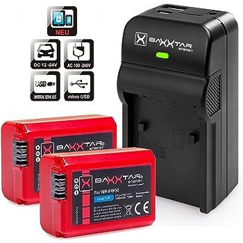 Baxxtar RAZER 600 II Carica 5 in 1 + 2x Baxxtar Batteria per Sony NP-FW50 (vero 1080mAh) - ingresso MicroUSB e uscita USB per un terzo dispositivo (Smartphone. eccetera)
