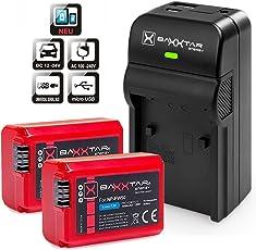 Baxxtar Razer 600 II Ladegerät 5in1 mit Baxxtar Pro Akku (2x) - Ersatz für Sony NP-FW50 (echte 1080mAh) zu Sony CyberShot DSC RX10 - Alpha 5100 6000 6300 6500 Alpha 7 und 7 II 7S / NEX / SLT A55 A33 A35 A37 A3000 usw - mit Micro-USB Eingang. USB-Ausgang, zum Laden eines Drittgerätes ( Smartphone..usw.)
