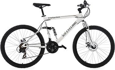 """KS Cycling Herren Mountainbike MTB Fully Triptychon 26"""" weiß RH 51 cm Fahrrad"""