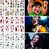 yumcute Halloween Tatuajes Temporales (30 Hojas),Halloween Cicatrices Tatuajes,Halloween Calcamonias para Niños,Tatuajes Tela