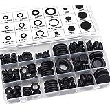 Aussel svart gummi öljett elektrisk ledare packning ring sortiment kit för att skydda trådar, pluggar och kablar 125PCS 125pc