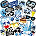 WOBBOX Fourth Birthday Photo Booth Party Props Blue for Baby Boy , 4th Birthday Decorations for Boys , Kids Birthday Party De