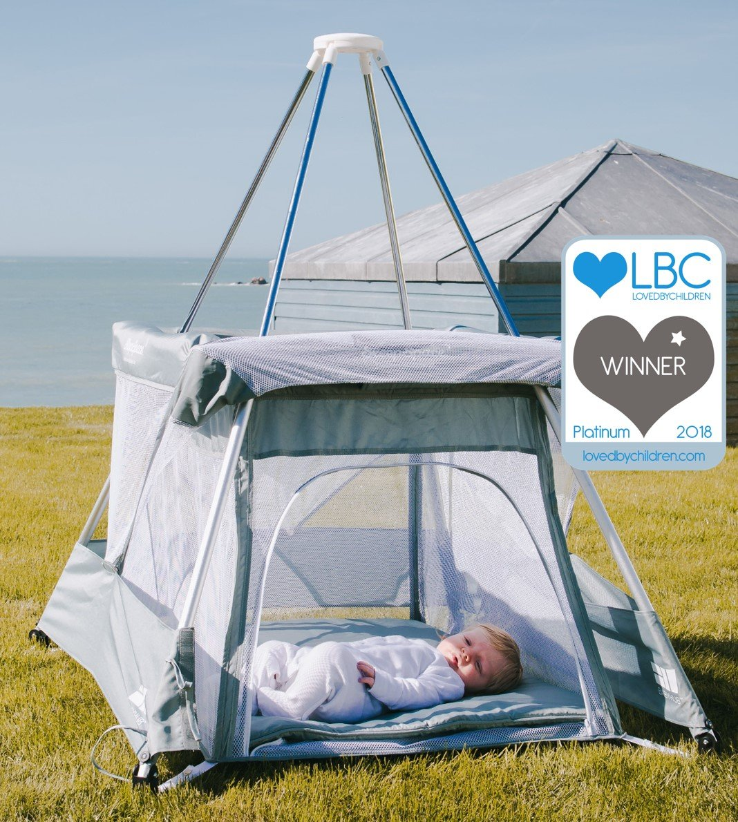 BabyHub SleepSpace Travel Cot with Mosquito Net, Grey BabyHub Three cots in one; use as a travel cot, mosquito proof space and reuse as a play tepee Includes extra mosquito net cover that can be securely in place Can be set up and moved even while holding a baby 4