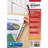 AVERY - Pochettes intercalaires à onglets personnalisables et imprimables, 12 touches, Format A4+ (permet de classer des poch