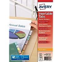 AVERY - Pochettes intercalaires à onglets personnalisables et imprimables, 12 touches, Format A4+ (permet de classer des…