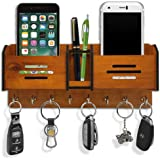 PSM HEAVEN IN HOME 562 Wood Key Holder with Storage Box Mobile Holder and Pen Holder (280mm x 120 mm) , Pack of 8 Hooks , Che