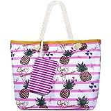 MOOKLIN Große Strandtasche mit Reißverschluss Sommer TascheVerschluss Damen Shopper Tasche Schultertasche Schwimmbad Badetasc