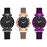 Emartos Analogue Women's Watch (Black Dial Purple, Black & Rose Gold Colored Strap) (Pack of 3)