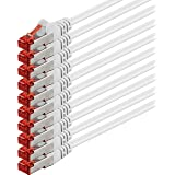 0,5m - Blanc - 10 pièces - CAT6 Câble Ethernet Set - Câble Réseau RJ45 10/100 / 1000 Mo/s câble de Patch LAN Câble |Cat 6 S-FTP PIMF 250 MHz Compatible avec Cat 5 / Cat 6a / Cat 7