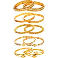 YouBella Jewellery Combo of Five Gold Plated Bangles for Women Traditional Bangles Set for Women and Girls
