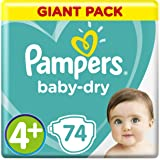 Pampers Baby-Dry Diapers, Size 4+, Maxi Plus, 10-15 kg, Giant Pack, 74 Count