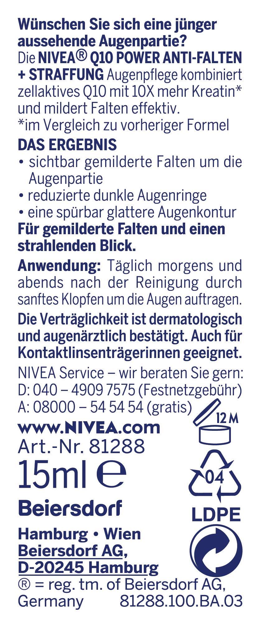 Nivea Q10Power anti-arrugas + la racionalización Ojo Cuidado Para rejuvenecedora, feuchtigkeitsspendende Ojo Crema, 2unidades (2x 15ml)